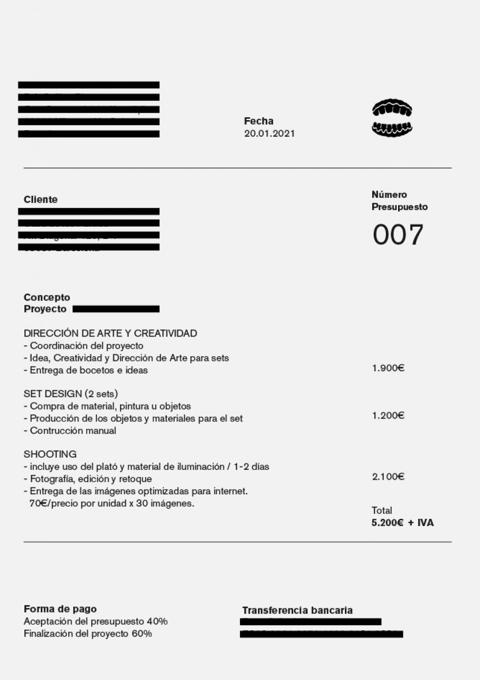 Presupuesto en Dirección de arte